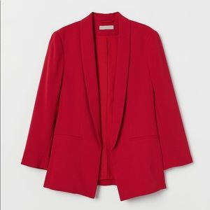 H&M Red Fitted Shawl Collared Blazer, US 14